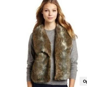 Joie Mirela Brown Faux Fur Silk Lining Vest